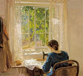 Hans Heysen_Sewing, the artist's wife 1913