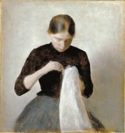 Vilhelm Hammershoi_Young Girl Sewing 1887