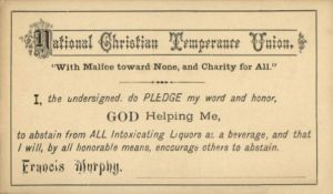 Alchol Temperance Pledge Card