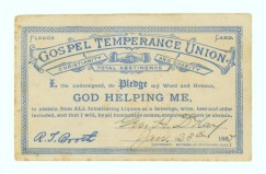 Alcohol WCTU& pledge card 1887