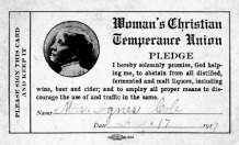 Alcohol WCTU pledge card 1917