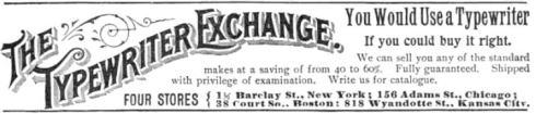 Typewriter ad 1896