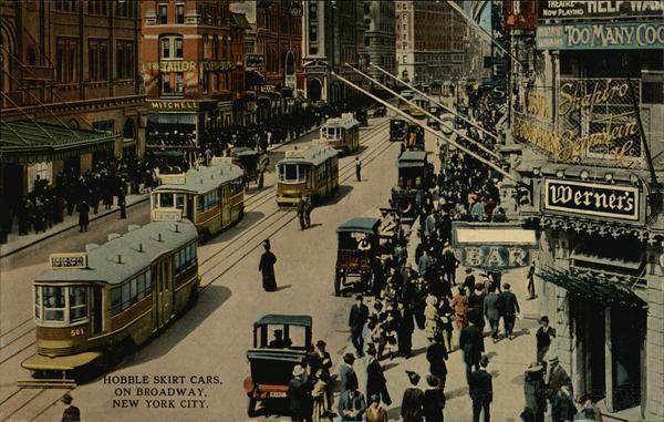 New York City Hobble Skirt Cars running up Broadway
