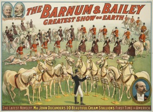 Circus Poster - Equestrians Riders and Horses