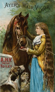 Front side of an Ayers Hair Vigor trade card