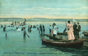 Image of swimmers in the lake at Chautauqua Institution, 1908
