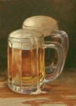 Image of two beer steins filled with beer.