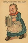 "A toddler-aged baby drools as she holds a large stein full of beer in both hands, under caption ""Ah were you only mine, how happy I would be, thou cold and foaming stein, so full of jollity."