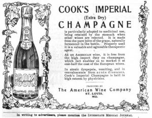 Advertisement for champagne from the Interstate Medical Journal