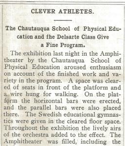 Chautauqua Herald Article dated July 19 1901 about a Physical Education Class exhibition