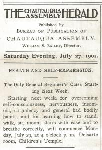Announcement in 1901 edition of Chautauqua Herald announcing class in self-expression