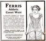 Image of corset ad showing woman riding a bike from 1890