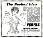 Image of corset advertisement showing woman holding hand weights from 1890