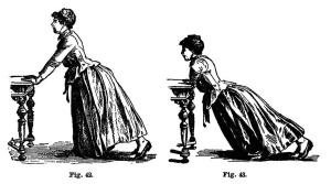 Image of woman doing push-ups against a table in 1890