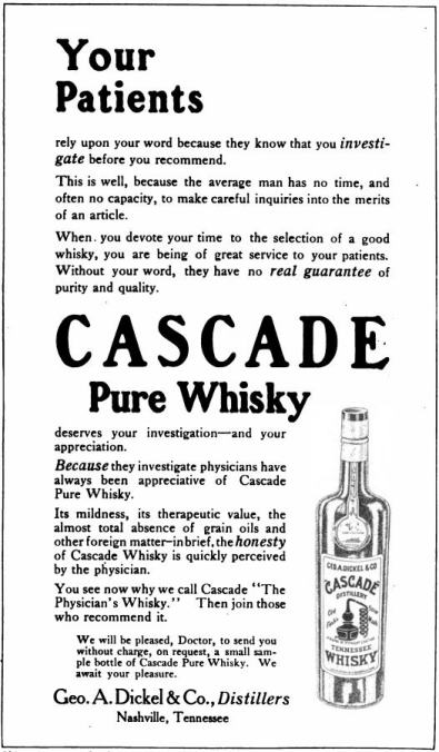 Image of an advertisement for Cascade Pure Whiskey