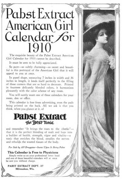 Image advertising Pabst Extract and offering a free 1910 American Girl Calendar.