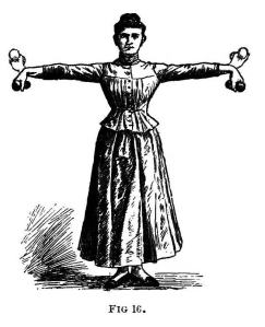Image of woman holding hand weights and flexing her wrists in 1890
