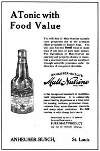 Image of Malt-Nutrine ad claiing the product was a tonic with food value