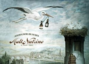 Image of a stork carrying bottles of Malt-Nutrine to baby storks in the nest.