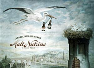 Image of a stork carrying bottles of Malt-Nutrine to baby storks in the nest.