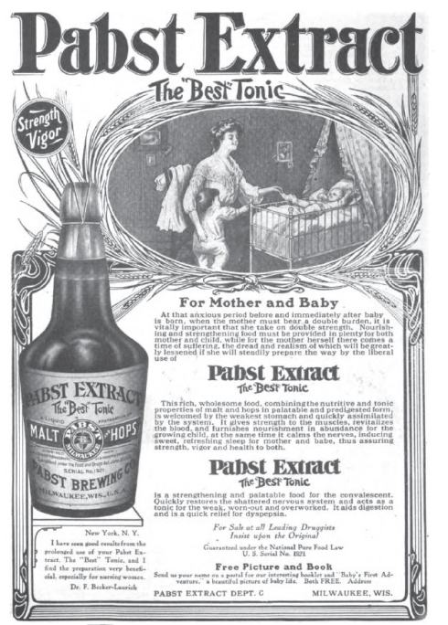Image of mother with toddler and baby beside an oversized bottle of Pabst Extract, along with three long paragraphs of promotional text.
