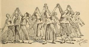 Image of a physical culture class using dumb-bells, 1890