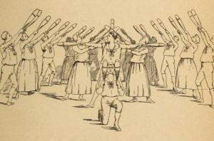 Image of a Physical Culture Class using Indian Clubs 1890