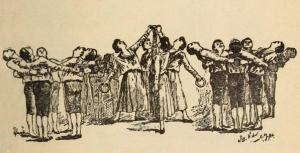 Image of a physical culture class using gymnastic rings, 1890