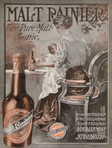 Image of Mother holding baby on her lap with a bottle of Malt Rainier in her hand.