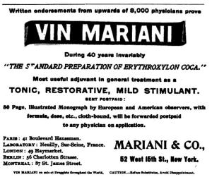"Ad for Vin Mariani claiming ""endorsements from upwards of 8,000 physicians."""