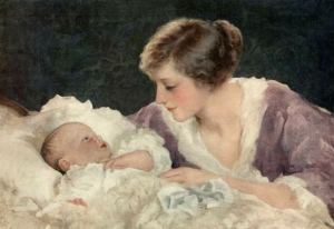 Image of a mother kneeling beside a cradle and gazing at her baby lying in the cradle