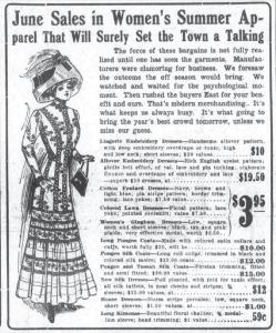 Ad for Pongee Coats from the Omaha Daily Bee, June 19 1910
