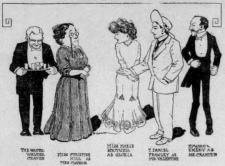 Caricatures of cast and characters in a 1907 production of You Never Can Tell