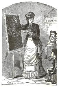 drawing of a Victorian-era woman darwing with chalk on a blackboard in front of children seated on chairs in front of her
