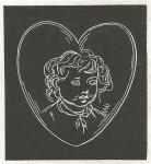 Drawing in white chalk of a child's face inside the shape of a heart