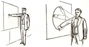 Black and white drawing of a man standing at a blackboard drawing a circle by moving his arm in a wide round motion
