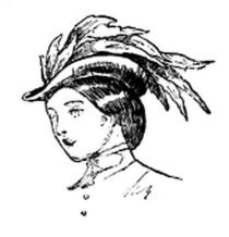 Drawing of a woman in Victorian-era dress and hairstyle wearing a hat that sits high on her head with several feathers swept back from the brim.