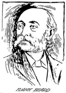 Black and white sketch of the artist Frank Beard.
