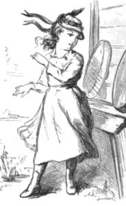 Drawing of a young girl wearing a straw jockey hat with ribbons trailing down the back.