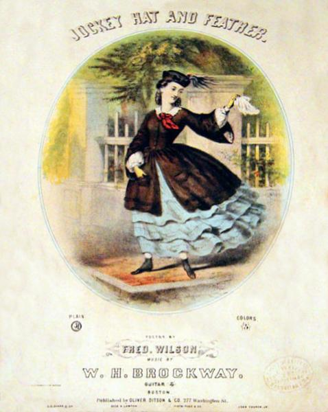 Cover illustration showing a woman in Civil War era dress wearing a hat that fits against her head, with a turned up brim and a tassle on one side.