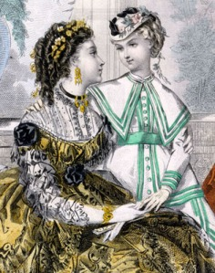 Illustration of a woman with her arms around a young girl who is wearing a straw jockey hat trimmed with flowers and pulled forward over her forehead.