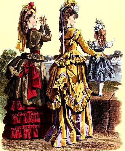 Color illustration showing two women and a young girl dressed in Victorian-era attire and wearing embellished straw jockey hats pulled forward so the brim covers their foreheads.