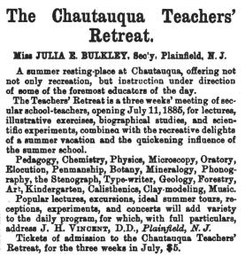 1885 Advertisement from the Boston Journal of Education listing the program and benefits of attending the teachers' retreat.