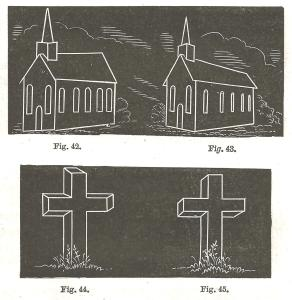 Drawings of two different versions of a church and a cross; one version showing the wrong perspective and one version showing the correct perspective.