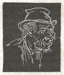 Chalk Ddawing of the head of an old man, hunched over, wearing disheveled clothes and hat.
