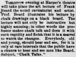 Newspaper announcement of a Freank Beard lecture from the 10 Mar 1890 edition of the Rock Island Argus