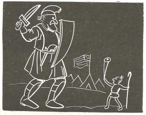 Chalk drawing of the Bible story of David and Goliath