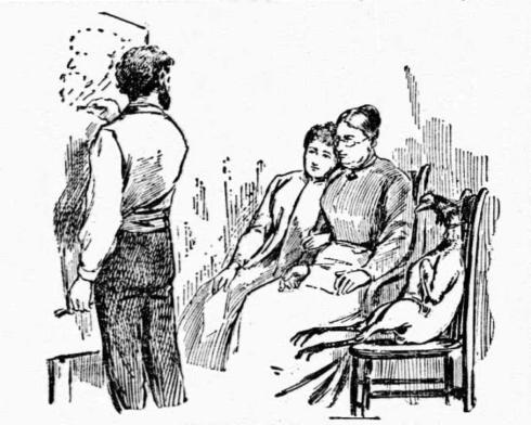 Black and white sketch of Frank Beard drawing at an easel. Seated in chairs watching are a young woman, an older woman and a plucked, headless turkey strapped in the third chair.