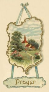 Colored drawing of a country church displayed above the word Prayer