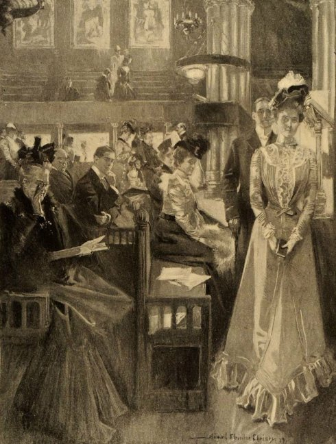 Illustration of a young woman going to her seat in church, with the yes of several members of the congregation following her.